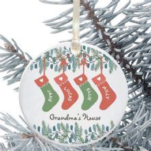 Ceramic Keepsake Christmas Stocking Tree Decoration - Grandma's/Grandad's House Design